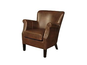 Poltrona Henley moderna in pelle – Sedia da caminetto in pelle - Finitura: marrone chiaro – da salotto.