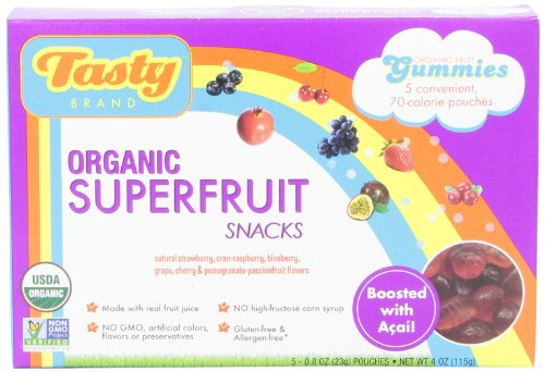 Tasty Brand, Gluten Free Organic Superfruit Snack Gummies, Superfruit Flavours, 5 Pouches, 0.8 oz (23 g) Each