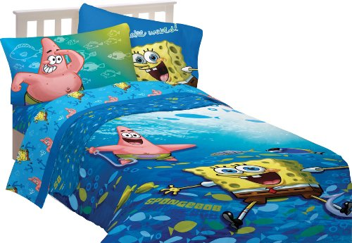 Nickelodeon Spongebob Fish Swirl Sheet Set, Twin front-1034525
