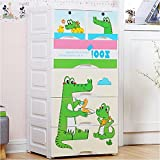 TheTickleToe DIY Thickened Plastic Cute Green Gator Cartoon Chest Of Drawers Closet Wardrobe Organizer Kids Boy Girl Room Baby Nursery Decor DIY 5 Layers Drawer With 2 Locks White