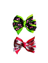 Cherry And Ladybug (Green &pink) Baby Girl Hair Clips Bow Hair Clips Toddler Hair Clips Hair Accessories For Girls
