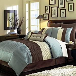 Legacy Decor 8 Pieces Blue Beige Brown Luxury Stripe Comforter (90
