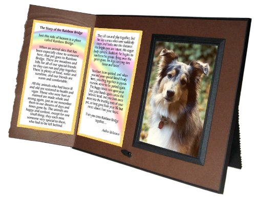 Rainbow Bridge Poem Pet Memorial Keepsake Picture Frame and Pet Loss Sympathy Gift, Chestnut Brown with Foil Accent