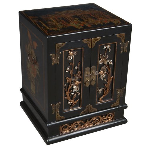 Cheap EXP Handmade Oriental furniture-23″ Antique Style Black Leather End Table – Bas-Relief Floral Design (B0027WI7T0)