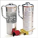 Prisha India Craft ® Copper Fridge Bottle Set Luxury Embossed Design Drinkware Tableware Jug For Ayurveda Healing...