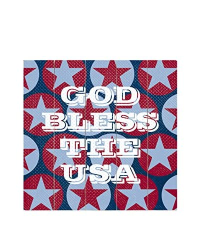 Artehouse God Bless The USA Wood Wall Décor, Red/White/Blue, 18 x 18