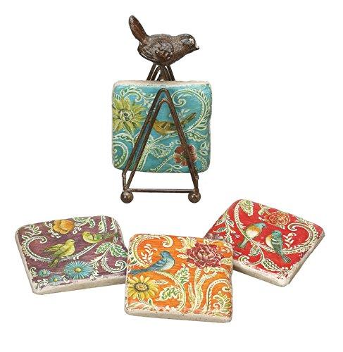 Creative Co-Op Kate McRostie DesignWorks Resin Coaster Set with Tin Bird Stand
