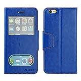 iPhone 6 ケース 革ケース手帳型カバー View Case ブルー
