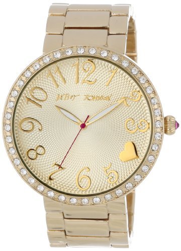 Betsey Johnson Women's BJ00236-02  Analog Gold Tone Case Set in Crystal Watch