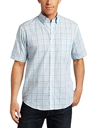 Van heusen men 39 s cvc wrinkle free large grid shirt aqua for Wrinkle free dress shirts amazon