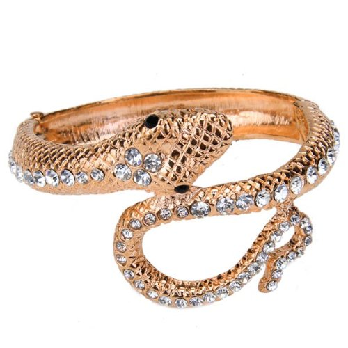 Ladies' Snake-Shaped Style Hinged Bangle Bracelet Adorned with Ablaze Rhinestones--Pink Champagne
