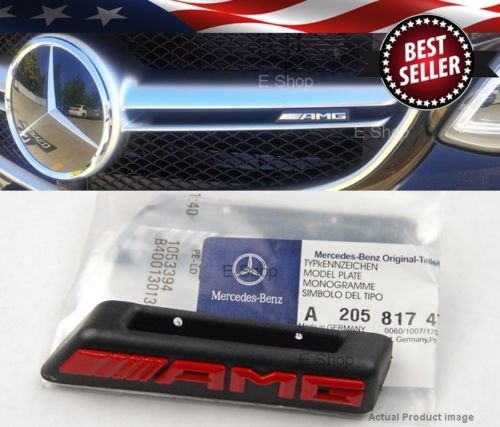 black-red-amg-radiator-grill-emblem-model-plate-for-mercedes-w205-c-class-c63-2015-up-us-stock