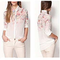 Womens Lapel Collar Chiffon Blouses Floral Flower Printed Long Sleeve Shirt Tops Sz 8-20