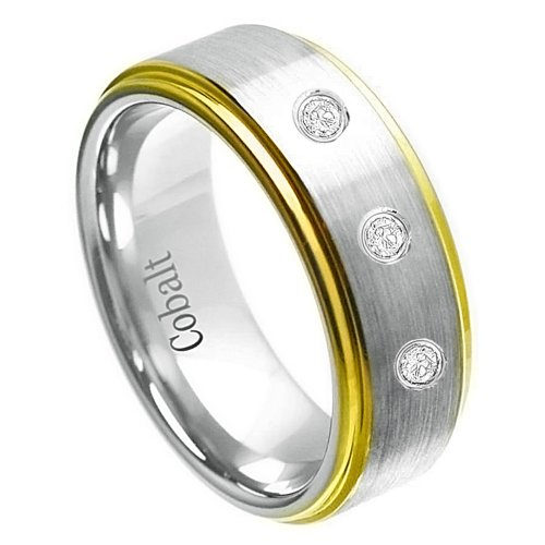 0.15Ct Three-Stone 8Mm Brushed Center, Stepped Edge Yellow Gold Plated Domed Cobalt Chrome Comfort Fit White Diamond Wedding Band For Her And For Him.
