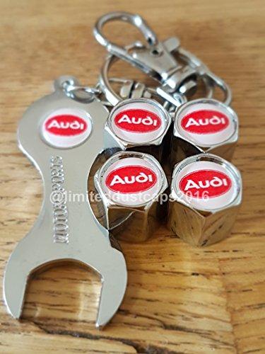 Audi-RotWei-Top-Chrom-Auto-Ventil-Reifen-Staub-Gap-mit-Schlssel-Schlsselanhnger-Exklusiv-bei-uns-alle-Modelle-A1-A3-A4-A5-A6-A7-A8-Q3-Q5-Q7-TT-R8-RS-E-Tron