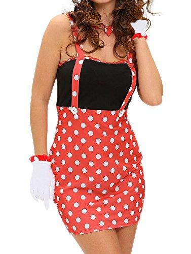 [Womens 4PCS Sexy Darling Miss Minnie Mouse Halloween Costume Polka Dot Small] (Naughty Nun Halloween Costumes)