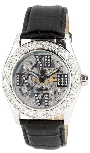 Burgmeister Ravenna Ladies Automatic Skeleton Watch BM140-102 With Swarovski Crystals And Black Leather Strap