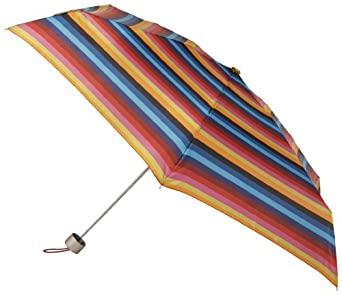 Totes Ladies Signaturte Micro Auto Open Auto Close Compact Umbrella, Stripe, One Size