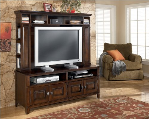 Cheap Dark Brown TV Stand with Hutch (ASLYW442-21_W442-21H_2PC)
