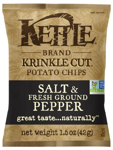 Kettle Brand Krinkle Cut Potato Chips, Salt and Fresh Ground Pepper, 1.5-Ounce Bags (Pack of 24) (Kettle Brand Chips compare prices)
