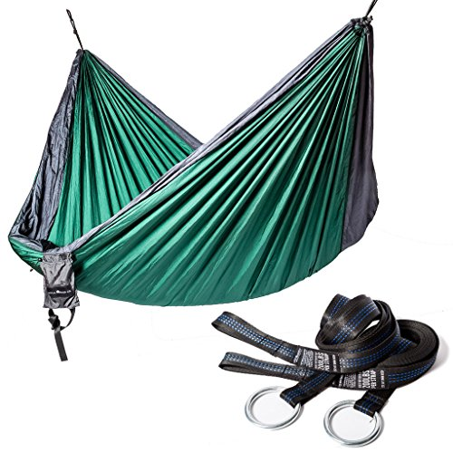 Ultra-Durable Camping Double Hammock, Nylon Parachute Fabric   Compact & Portable for Indoor & Outdoor Relaxation   400 lb Capacity With Hanging Straps ...
