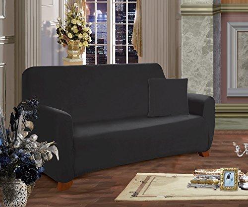 Elegant Comfort Collection Luxury Soft Furniture Jersey STRETCH SLIPCOVER, Sofa Black
