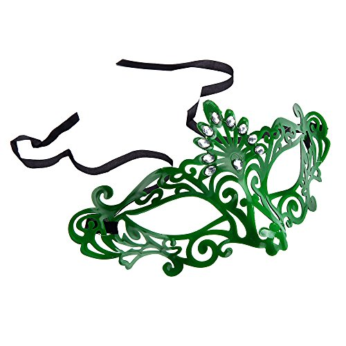 [Sandistore Venetian Hollow Masquerade Halloween Mask Party (Green)] (Eggshell Costume For Adults)