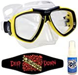 Cressi Focus Scuba Dive Mask, with Mask Strap & Antifog, Clear/Yellow