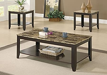 CAPPUCCINO / MARBLE-LOOK TOP 3PCS TABLE SET (SIZE: 48L X 24W X 17H)