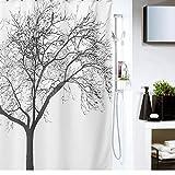 eHarbour 木のデザインユニットバス バスルーム 防水 防カビシャワーカーテン プラスチックフック付属
