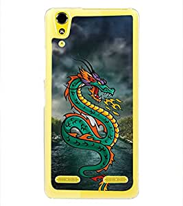 Green Dragon 2D Hard Polycarbonate Designer Back Case Cover for Lenovo A6000 Plus :: Lenovo A6000+ :: Lenovo A6000