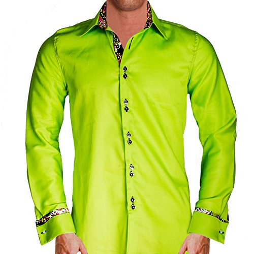 Anton Alexander Men'S Lime Green French Cuff Designer Dress Shirt Made In Usa -Xl Modern Fit-Lime Green/Multi-Color Pattern