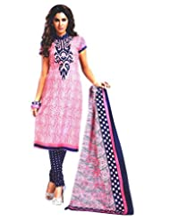 Namaskaar India Pink & Blue Printed Salwar Suit Dupatta Material For Women