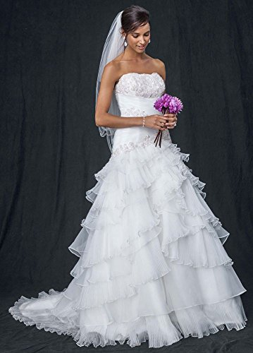 Organza Petite Pleated Wedding Dress with Lace-Up Back Style 7WG3453, White, 4P