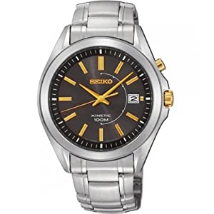 Seiko Men's Automatic Watch with Brown Dial Analogue Display and Silver Stainless Steel Bracelet SKA527P1