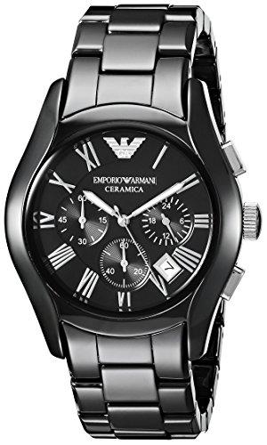 Emporio Armani AR1400 - Reloj cronógrafo de cuarzo para hombre con correa de cerámica, color negro