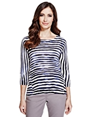 Per Una Pure Cotton Painted Striped Knitted Top
