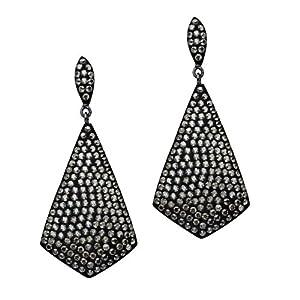 Satin Bellarosa Crystal Fashion Dangle Earrings in Sterling Silver