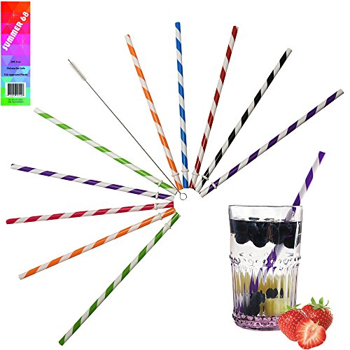 Summer 68 - BPA Free, Reusable Plastic Straws - Broad Striped - Hard - Thick - Wide - Dishwasher Safe - For Mason Jars, Tumblers, Cups, etc - Set of Eight Straws - Free Cleaning Brush (12 Ounce Tall Canning Jars compare prices)