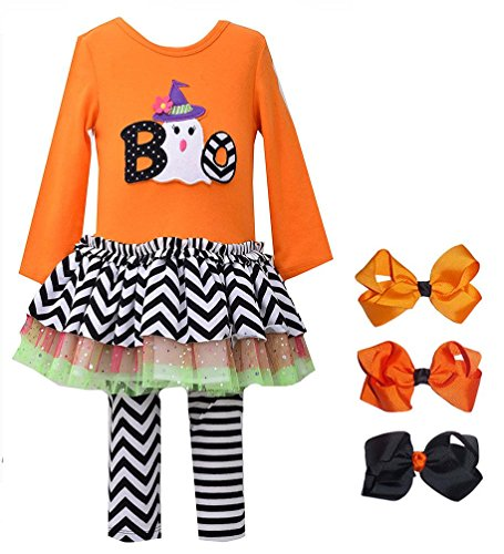 Baby Girls' Orange BOO Ghost Halloween Leggings outfit + set of 3 Hair Bows