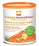 Happybaby Happymunchies Baked Organic Cheese and Veggie Snack, Cheddar Cheese/Carrot, 1.63 Ounces (Pack of 6)
