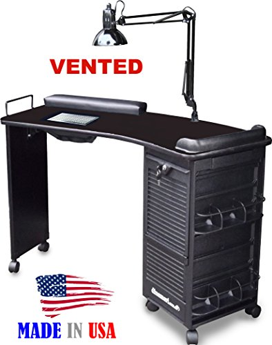 M601 Vented Manicure Nail Table, Lockable w/Curved Black Top by Dina Meri (Dina Meri Manicure Vented Table compare prices)