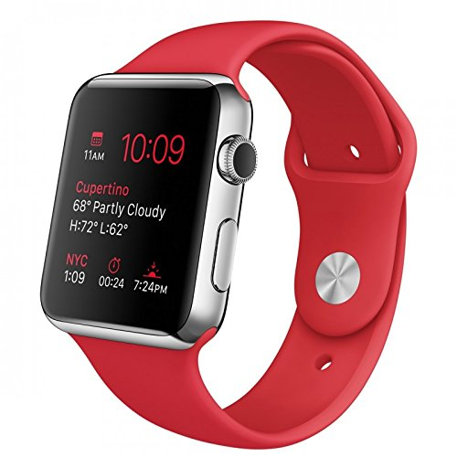 "Apple Watch Sport 42 mm - Smartwatch iOS de acero inoxidable (pantalla 1.65"", 8 GB, 520 MHz, 512 MB RAM), correa deportiva roja"