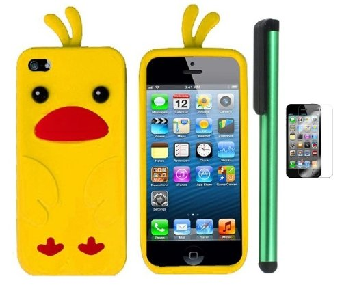 Best  Yellow Funny Duck Premium Design Protector Soft Cover Case Compatible for Apple Iphone 5 (AT&T, VERIZON, SPRINT) + Screen Protector Film + Combination 1 of New Metal Stylus Touch Screen Pen (4