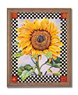 Checkerboard Sunflower Country Folk Kitchen Home Decor Wall Picture Oak Framed Art Print