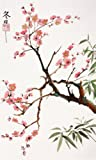 Cherry Tree, Giclee Print of Original Sumi-e Flower Painting by Peggy Duke, 12 X 20 Inches