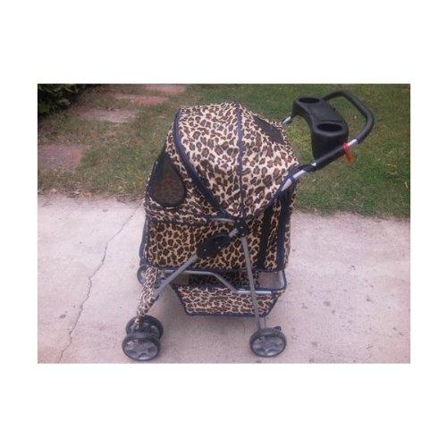 Classic Leopard Skin 4 Wheel Pet Stroller