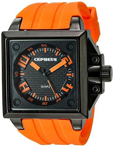 CEPHEUS CP904-629A - Reloj analógico de cuarzo para hombre con correa de silicona, color naranja