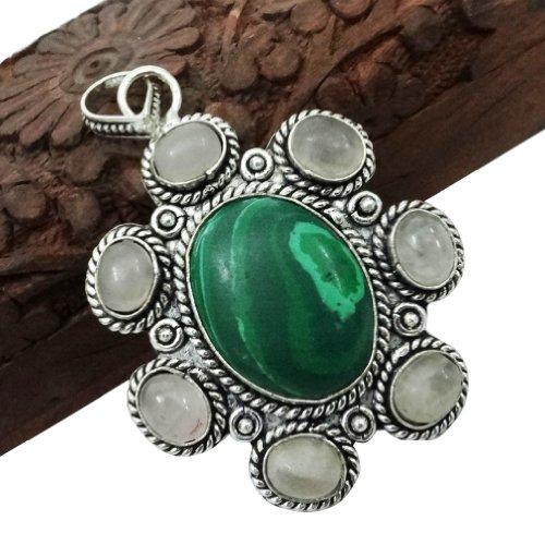 .925 Silver Plated Copper Malachite Quartz Multi Stone Pendant Classic Ethnic Antique Fashion Jewellery India Gift