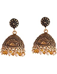 Ganapathy Gems Oxidised Brass Plated Jhumki With Golden Crystal And Pearl Drops (9102)